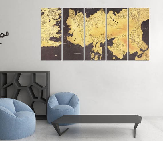 the game of thrones movie world map print framed ready to | Etsy