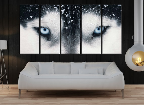 Large wolf eyes wall art for living room wild animal canvas | Etsy