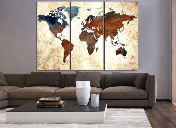Große Wandkunst 3 Stücke für Wohnzimmer, strukturierte Weltkarte Leinwand  Kunst, Weltkarte Wand Kunstdruck, große abstrakte Kunst, Weltkarte Kunst ...