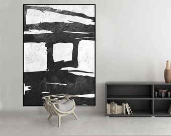 original artwork, abstract painting, large abstract art, black and white painting, extra large wall art, Contemporary Painting
