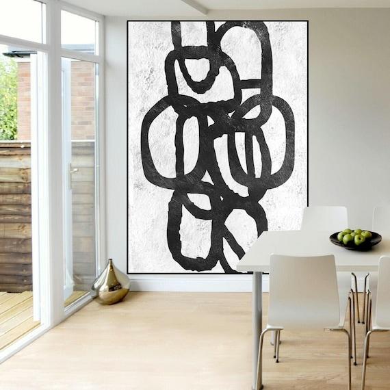 Betere Zwart-wit abstract schilderij extra grote muur kunst | Etsy OQ-16