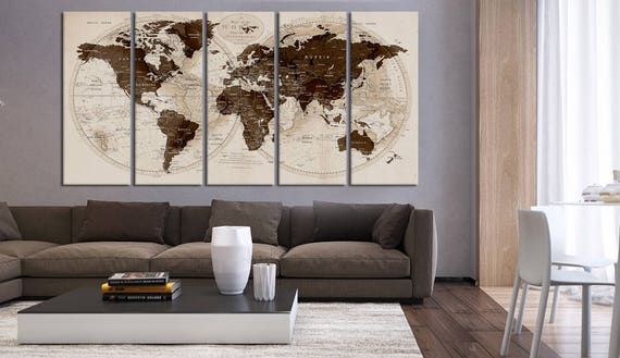 1216 Push Pin World Map World Map Extra Large Canvas Print Map  Travel Art