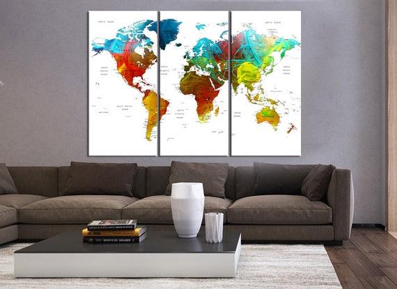 Push Pin World Map Canvas Print 3 Pieces Wall Art World Map Etsy