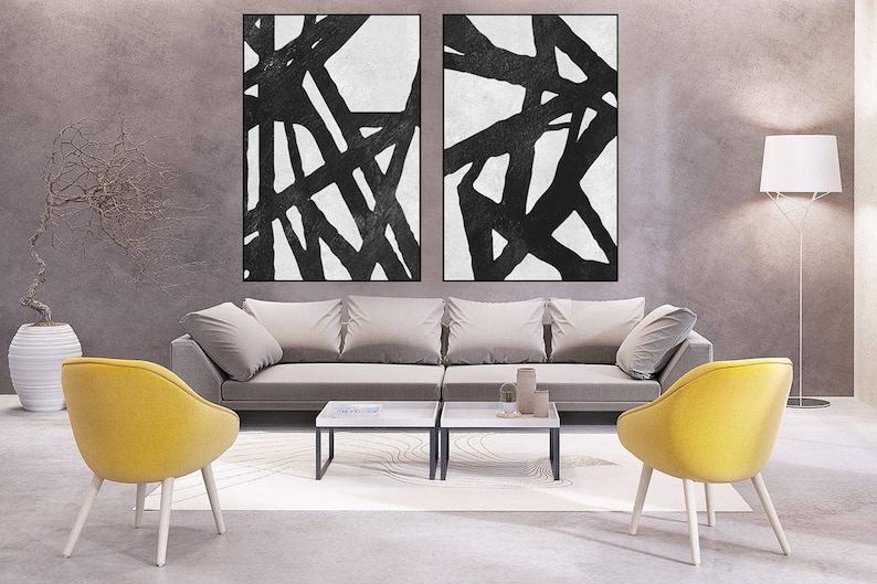 large Abstract wall art minimal painting canvas handmade Original Acrylic Painting black and white extra large wall decor minimal art