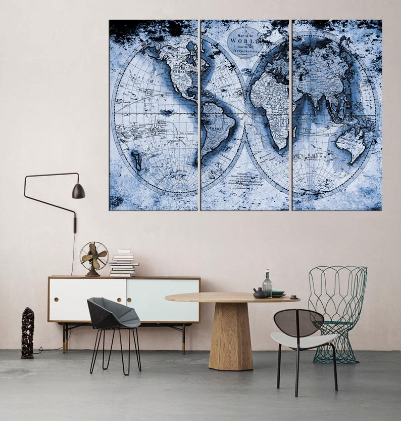 vintage blue world map wall art 3 panel large canvas print framed, extra  large wall art, old world map wall decal, set of 3 pieces qn68