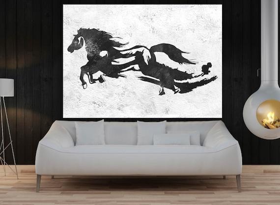 große Wand-Kunst für Wohnzimmer Pferd die original-Gemälde
