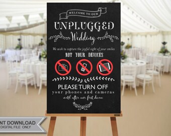 unplugged wedding ceremony sign instant download no waiting