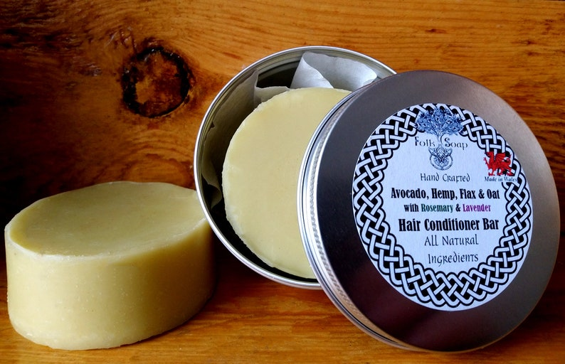 Solid Conditioner Bar with Avocado Hemp Flax & Oats. The Best Natural Shampoo (and Conditioner) in Wales by a Hopeful Home.