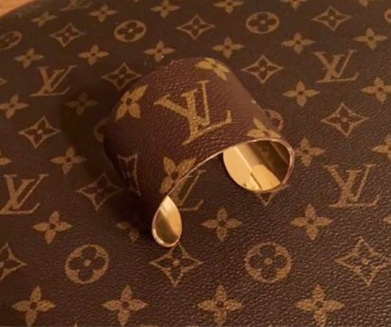 942b581f6087a Cuff covered in authentic LV monogram or Gucci canvas upcycled from a  vintage bag