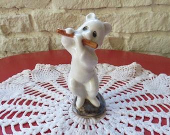 Ceramic Bear - Porcelain - Flute Player
