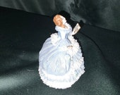 Sandizell Porcelain Figurine Lady in Lace White Dress with Pink Lace trim