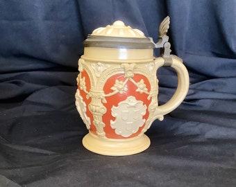 antique floral botanical beer mug Villeroy/&Boch botanica beer glass schooner retro decorative stein retro ceramics made in Luxembourg