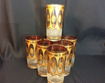 f64302365c82 Culver Glass Hollywood Regency water tumblers 22K Gold set of 7 ca. 1970s