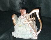 Irish Dresden Christine on Harp Emerald Collection Muller Volkstedt MZ ca. 1980s