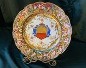 Potschappel Dresden 3D Art Porcelain Red Gold Shield Family Crest Plate ca. 1890s