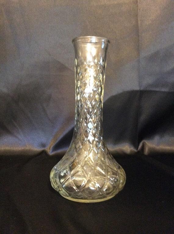 Hoosier Glass 4095 Rhombus Clear Glass Vase Etsy