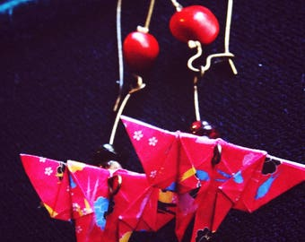Earrings sleepers origami red Butterfly