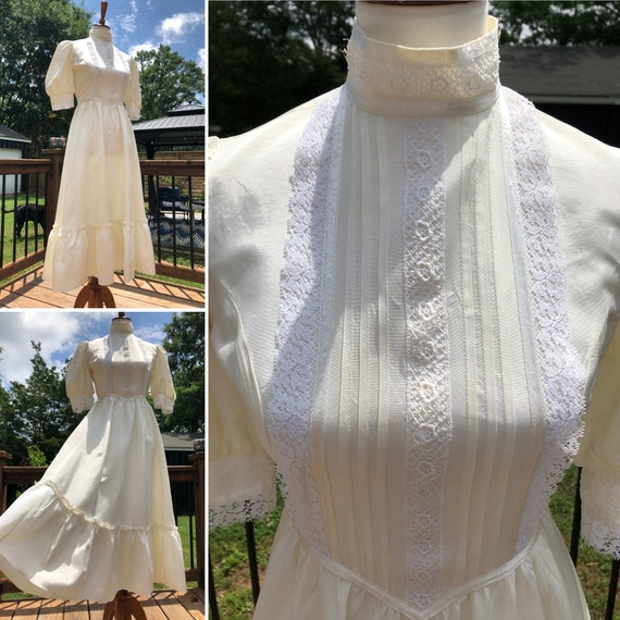 70's Cream Taffeta Gunne Sax Midi Dress Sz S