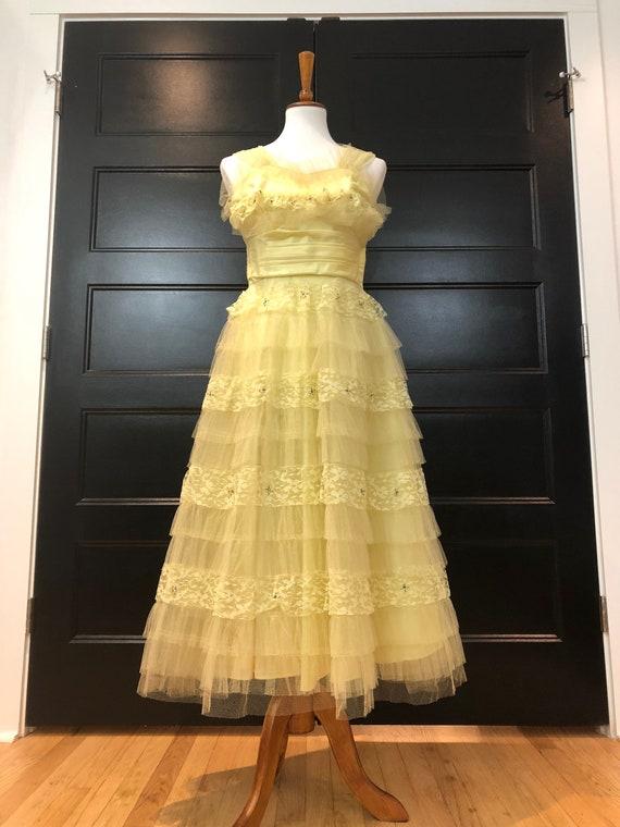 50's Lemon Cupcake Formal Dress Sz S