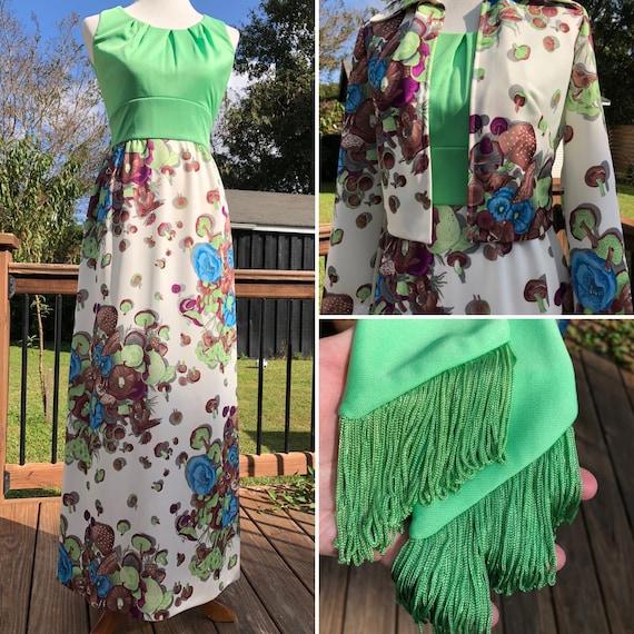 70's Leslie Fay Mushroom Print Maxi Dress with Jac