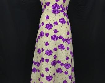 60's/70's Psychedelic Purple Tree Maxi Dress