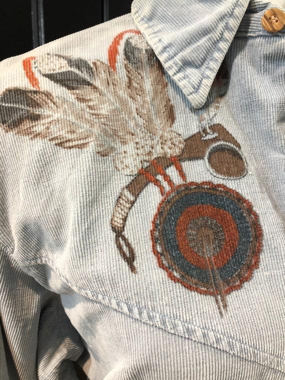 70's Baby Blue Corduroy Button Down Shirt w/Majes… - image 4