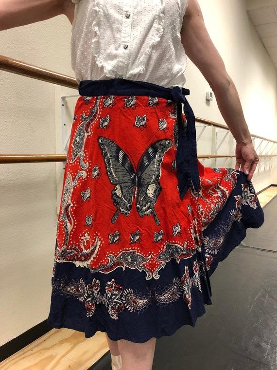 Vintage Inspired Lucky Brand Butterfly Wrap Skirt