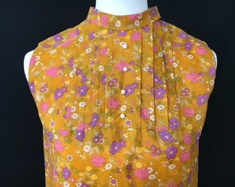 1960's Orange Floral Shift Dress