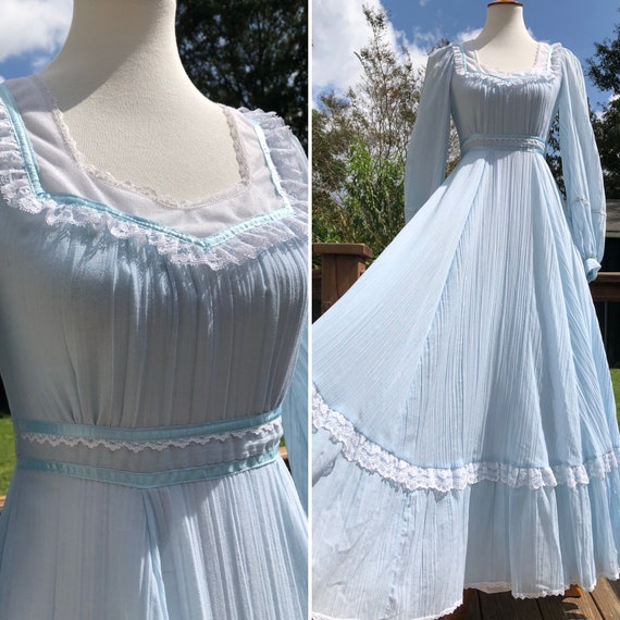 70's Cloud Blue Gunne Sax Maxi Dress Sz XS