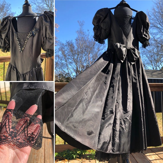 80's Gunne Sax Black Taffeta Formal Dress with La… - image 1