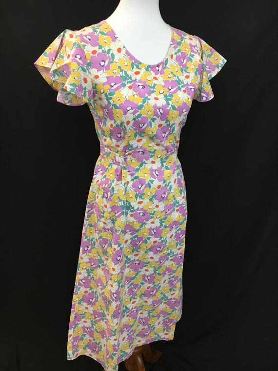 30's Floral Farmhouse Flutter Sleeve Dress