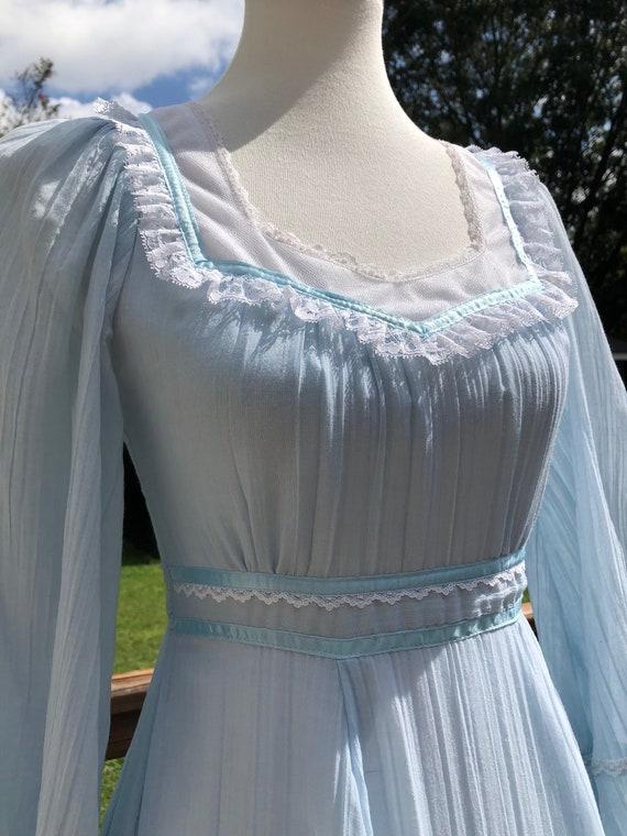 70's Cloud Blue Gunne Sax Maxi Dress Sz XS - image 2