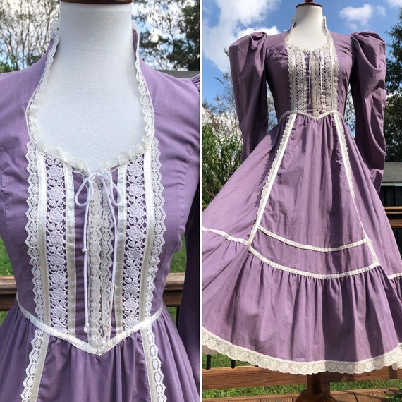 70's Dusty Lavender Gunne Sax Midi Dress Sz S