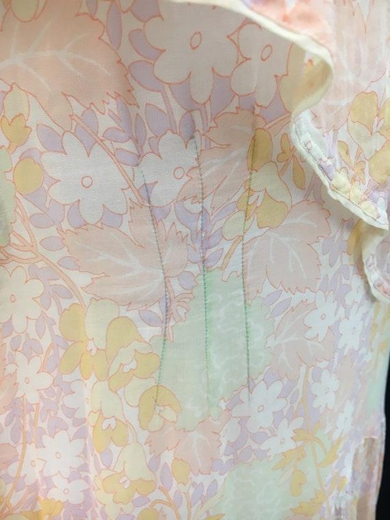 Beautiful 20's Sheer Floral Flapper Dress - image 7