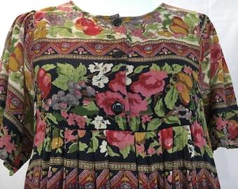 90's Long Bohemian Floral India Dress
