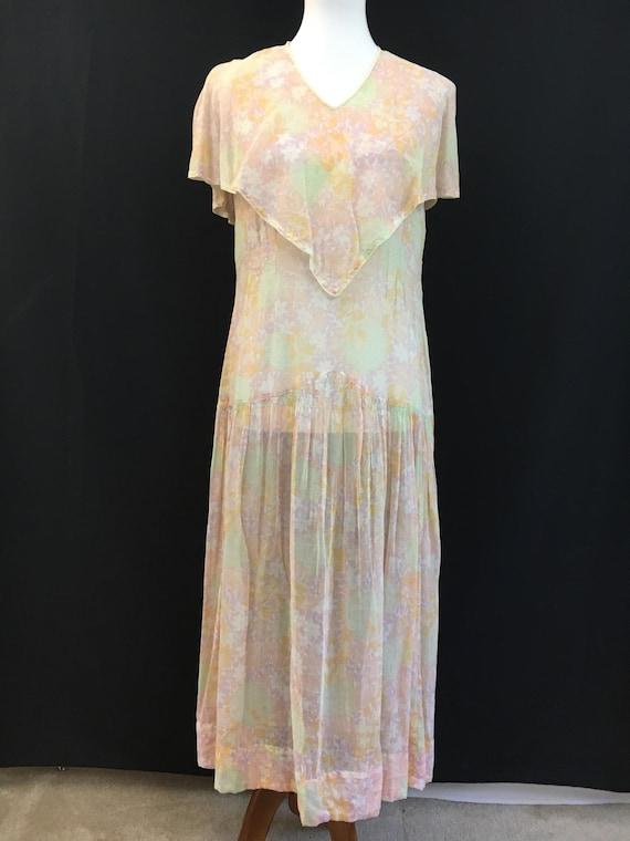 Beautiful 20's Sheer Floral Flapper Dress - image 3