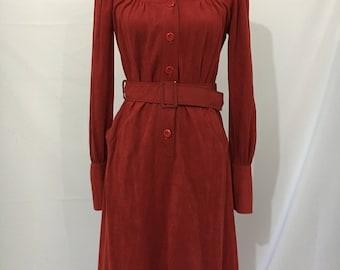 Groovy 70's Rust Faux Suede Dress