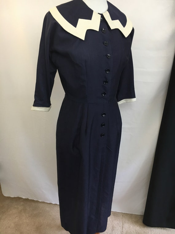 50's Navy Blue L'Aiglon Form-Fitting Dress