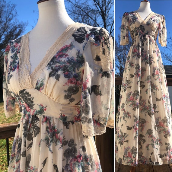 70's Jody T Cream Maxi with Watercolor Floral Prin