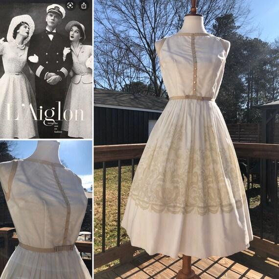 Ladylike 50's L'Aiglon Dress with Trompe L'oeil Pr