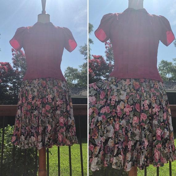 90's Flouncy Floral Starina Mini Skirt Sz S