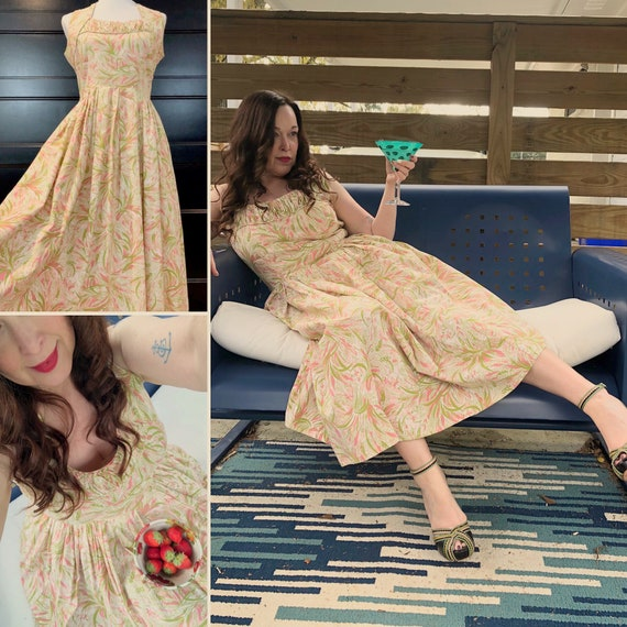 50's Kay Junior Pink & Sage Tropical Dress