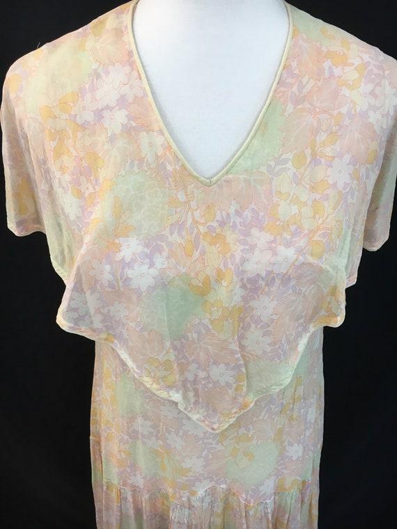 Beautiful 20's Sheer Floral Flapper Dress - image 2