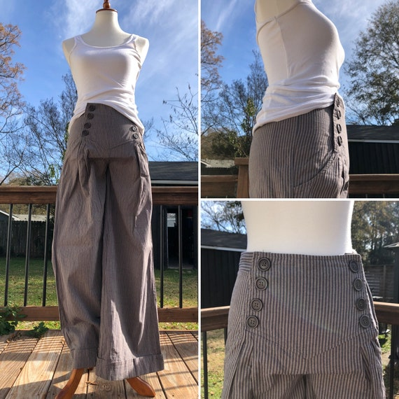 Grey Pinstripe Flared Sailor Pants