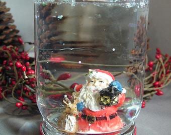 Santa w/ Lantern & Deer Holiday Snow Globe