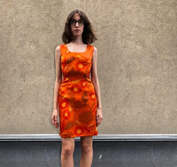 Vintage mini dress Orange flower dress Sundress 00