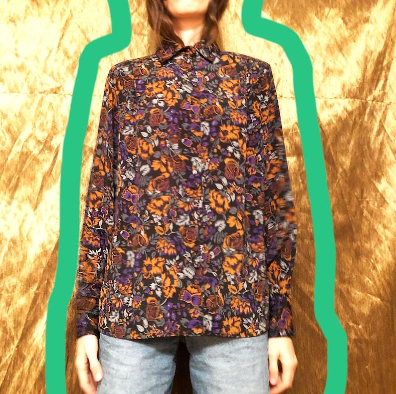 Flower blouse 1980/'sBlack printed blouseFloral shirtWomen blouseSize 40