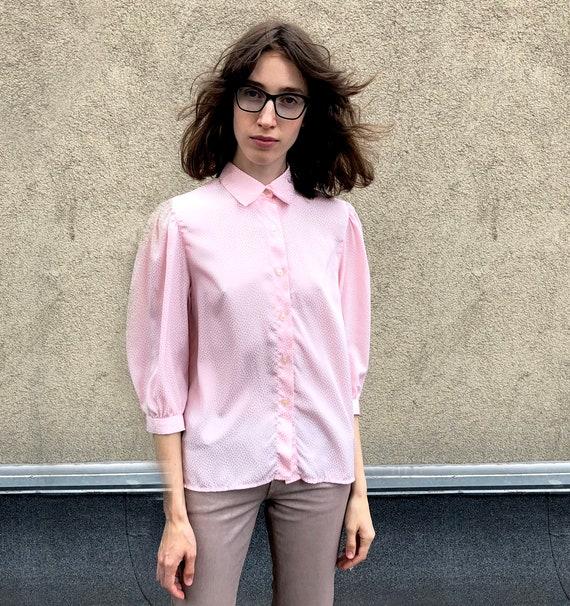 Vintage jacquard blouse Rose blouse 80's Jacquard