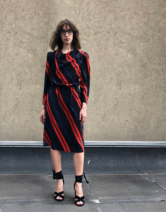 Vintage dress 1980's / Striped dress / Black strip