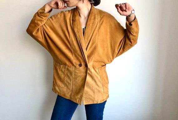 Vintage Leather jacket bat sleeves Vintage Suede v